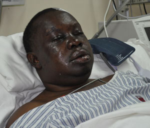 Dr Stephen Ulimboka in intensive care at Muhimbili Orthopaedic Institute yesterday after he was kidnapped, tortured and dumped on the outskirts of Dar es Salaam on Wednesday PHOTO  FIDELIS FELIX